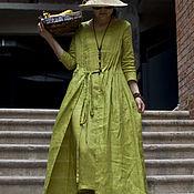 Платья ручной работы. Ярмарка Мастеров - ручная работа Горчичное зеленое льняное платье. Handmade.