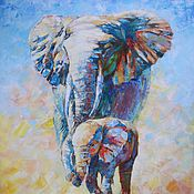 Картины ручной работы. Ярмарка Мастеров - ручная работа Картина Слоны Слоненок с мамой. Холст, масло, 60х50. Handmade.