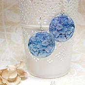 Украшения handmade. Livemaster - original item Translucent Earrings made of Epoxy Resin Blue Hydrangea. Handmade.