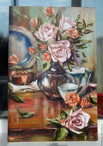 """Картины цветов ручной работы. Картина маслом """"Натюрморт с розами"""" 40х60 (цветы,розы). Алена (живопись) (Helene-Art). Интернет-магазин Ярмарка Мастеров."""