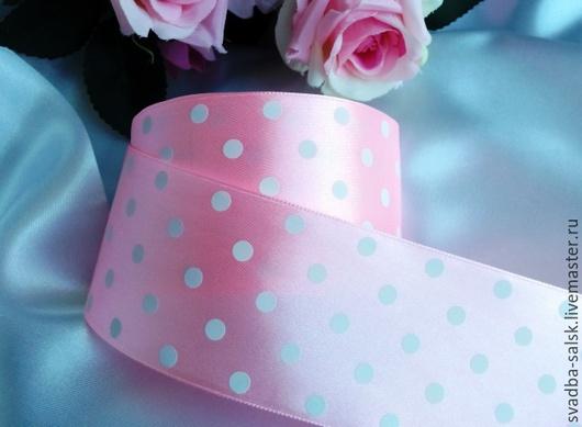 Шитье ручной работы. Ярмарка Мастеров - ручная работа. Купить Лента атласная розовый в горох 50мм. Handmade. Атласная лента