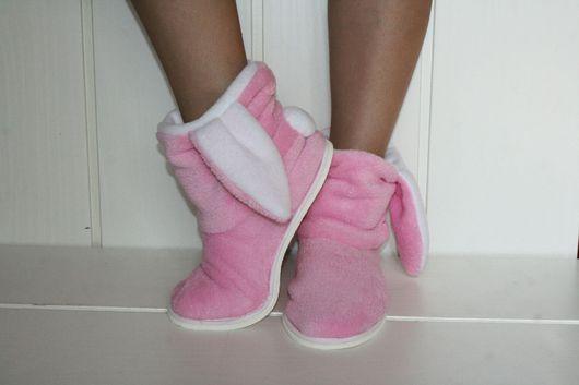 Обувь ручной работы. Ярмарка Мастеров - ручная работа. Купить Тапочки-зайчики. Alfa-Mag.. Handmade. Бледно-розовый, флис