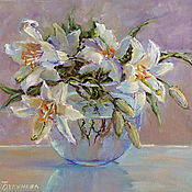 Картины и панно handmade. Livemaster - original item Oil painting Lily flowers, order a picture cheap. Handmade.