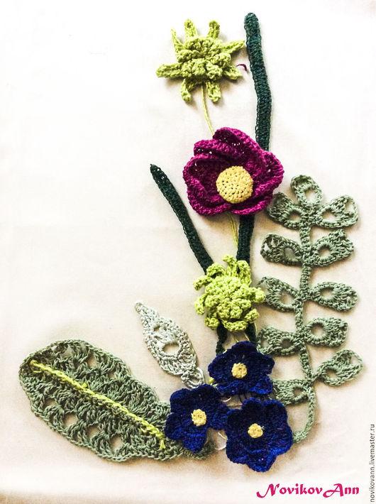 Текстиль, ковры ручной работы. Ярмарка Мастеров - ручная работа. Купить Цветы и листья, вязаные крючком для декора. Handmade. Комбинированный