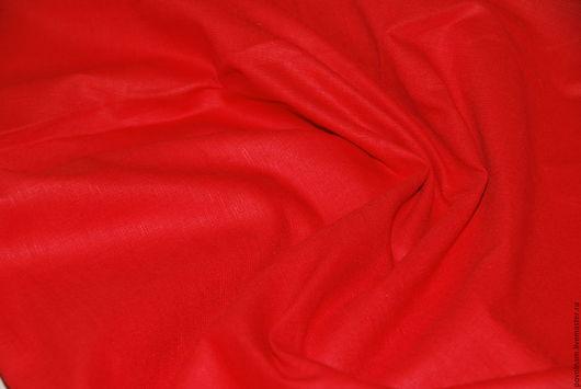 """Шитье ручной работы. Ярмарка Мастеров - ручная работа. Купить Лён-хлопок """"Красный"""" мягкий. Handmade. Ярко-красный"""