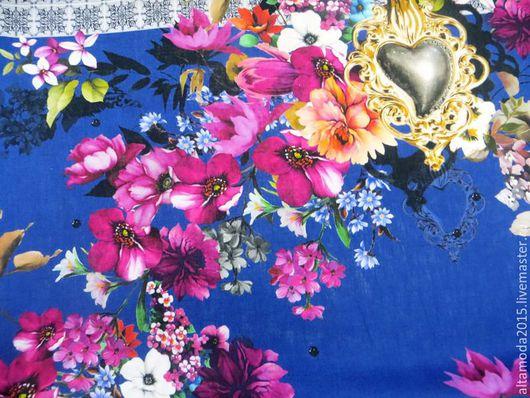 Шитье ручной работы. Ярмарка Мастеров - ручная работа. Купить Лен D&G, ткань Италия. Handmade. Синий, итальянские ткани
