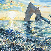 Картины и панно handmade. Livemaster - original item Watercolor painting Frolicking dolphins. Seascape.. Handmade.