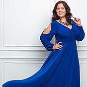 Платья ручной работы. Ярмарка Мастеров - ручная работа Вечернее платье Ромелла большого размера.Струящийся трикотаж,клеш от г. Handmade.