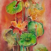 Картины и панно ручной работы. Ярмарка Мастеров - ручная работа Батик панно Лотосы 40х70. Handmade.