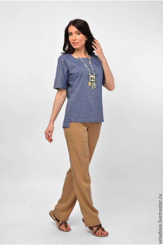 """Блузки ручной работы. Ярмарка Мастеров - ручная работа. Купить Хлопковая блуза """"Эстило"""". Handmade. Синий, блузка из хлопка, джинса"""