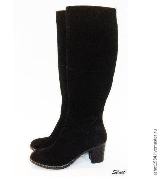 Обувь ручной работы. Ярмарка Мастеров - ручная работа. Купить женские сапоги. Handmade. Черный, сапоги ручной работы, велюр