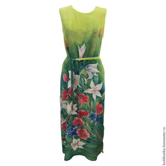 Платья ручной работы. Ярмарка Мастеров - ручная работа. Купить Шелковое платье батик Краски лета. Handmade. Ярко-зелёный