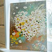 Картины и панно ручной работы. Ярмарка Мастеров - ручная работа Влюбленные цветы - текстурная картина. Handmade.