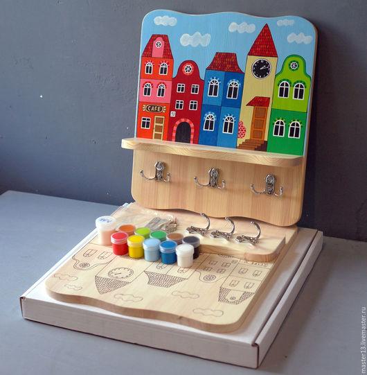 """Детская ручной работы. Ярмарка Мастеров - ручная работа. Купить Полка-вешалка """"Домики-1"""" (набор с контурами и красками). Handmade."""