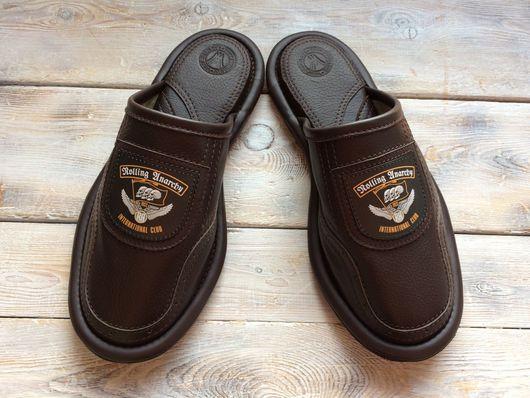 """Обувь ручной работы. Ярмарка Мастеров - ручная работа. Купить Кожаные тапочки """" Байкерский клуб-2"""". Handmade. Байкеры"""