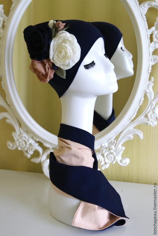 Комплекты аксессуаров ручной работы. Ярмарка Мастеров - ручная работа. Купить Комплект из шапочки и  шарфика. Handmade. Тёмно-синий, трикотаж