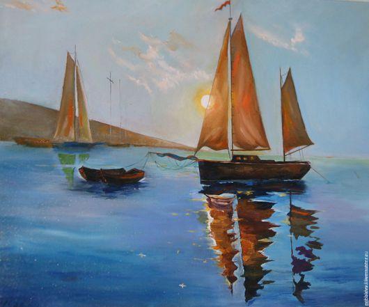 Peizaj  пейзаж, морской пейзаж, рассвет, корабли картина, картина с пейзажем, купить картину, недорого, пейзаж маслом, купить пейзаж, ярмарка мастеров, картина аукцион, картинная галерея