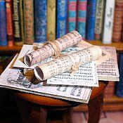 Куклы и игрушки ручной работы. Ярмарка Мастеров - ручная работа Миниатюра 1:12. Ноты в библиотеку кукольного дома. Handmade.