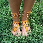 Украшения ручной работы. Ярмарка Мастеров - ручная работа Вязаное ажурное украшение для ног   Огненная лилия. Handmade.