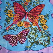 Shawls1 handmade. Livemaster - original item Batik One summer. Butterflies and flowers. Handmade.