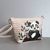 Сумки и аксессуары handmade. Livemaster - original item Women`s leather bag.Clutch Bag with Panda Straw Applique. Handmade.
