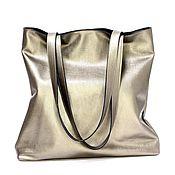 Сумки и аксессуары handmade. Livemaster - original item Shopper made of genuine leather art. 491 bronze. Handmade.
