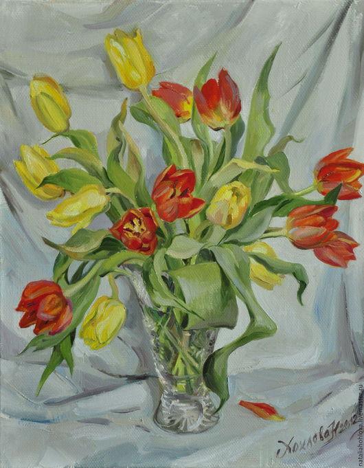 Картины цветов ручной работы. Ярмарка Мастеров - ручная работа. Купить Тюльпаны в хрустале. Холст масло.. Handmade. Желтые тюльпаны