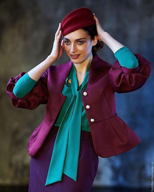Повязки ручной работы. Ярмарка Мастеров - ручная работа. Купить Фетровая шляпка. Handmade. Бордовый, красный, винный цвет, ободок