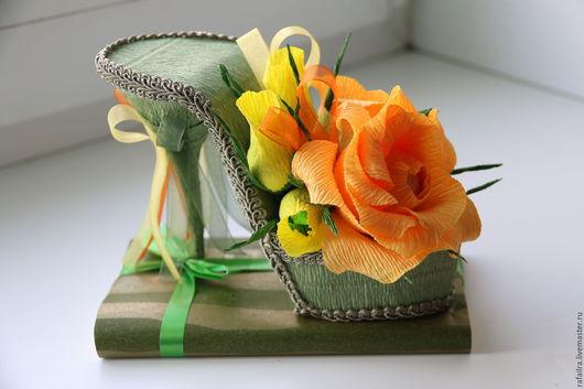 """Букеты ручной работы. Ярмарка Мастеров - ручная работа. Купить Туфелька """"Лесной феи"""". Handmade. Зеленый, желтый, гофрированная бумага"""