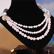 Necklace handmade. Livemaster - original item Beads Soft pink quartz, agate and crystal. Handmade.