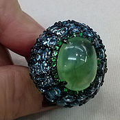 Украшения handmade. Livemaster - original item Ring with prehnite, blue Topaz and tsavorites. Handmade.