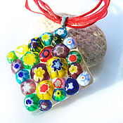 Украшения handmade. Livemaster - original item Raznocvetnye pendant glass colors of summer. Jewelry Fusing Murano. Handmade.