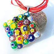 handmade. Livemaster - original item Raznocvetnye pendant glass colors of summer. Jewelry Fusing Murano. Handmade.