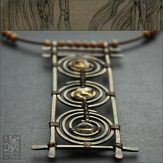 Колье, бусы ручной работы. Ярмарка Мастеров - ручная работа. Купить Ожерелье Три Солнца - Рассвет. Handmade. Солнце
