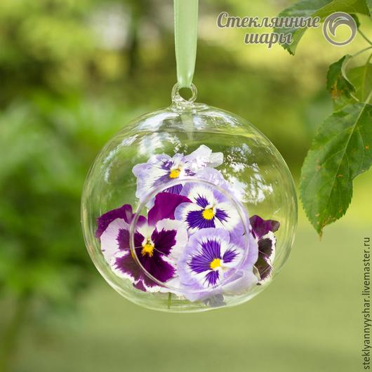 Стеклянный шарик подвесная ваза с петелькой и отверстием для декора, диаметр 12 см