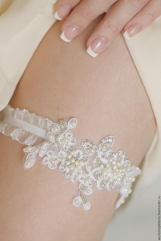 Bridal garter, lace garter, flower garter, wedding garter, Pearl Garte, Garter, St. Petersburg,  Фото №1