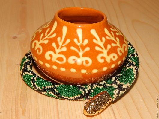 """Колье, бусы ручной работы. Ярмарка Мастеров - ручная работа. Купить Жгут из бисера """"Древесный питон"""". Handmade. Зеленый, змея"""