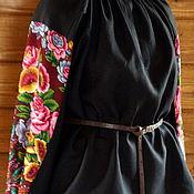 Одежда ручной работы. Ярмарка Мастеров - ручная работа Рубаха черная льняная с печатным цветочным узором. Handmade.