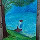 """Люди, ручной работы. Ярмарка Мастеров - ручная работа. Купить Картинка """"Кто уплыл на лодке?"""". Handmade. Бирюзовый, вода, лодка"""