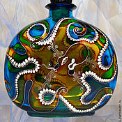Посуда handmade. Livemaster - original item Bottle Octopus, stained glass painting. Handmade.