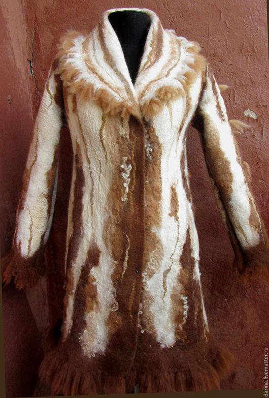 """Верхняя одежда ручной работы. Ярмарка Мастеров - ручная работа. Купить пальто валяное из флиса альпаки """"Ящерица на горном склоне"""". Handmade."""
