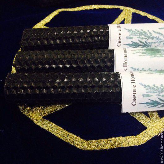 Эзотерические аксессуары ручной работы. Ярмарка Мастеров - ручная работа. Купить Свеча для снятия негатива. Handmade. Свечи черные