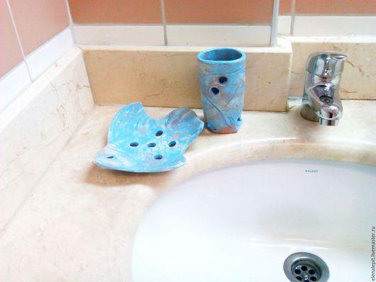 Ванная комната ручной работы. Ярмарка Мастеров - ручная работа. Купить Керамический набор Рыбка. Handmade. Бирюзовый, душа мастера