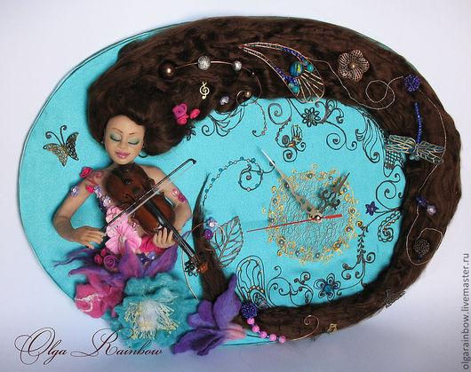 """Часы для дома ручной работы. Ярмарка Мастеров - ручная работа. Купить Часы """"Весна"""". Handmade. Девушка со скрипкой, бирюзовый"""