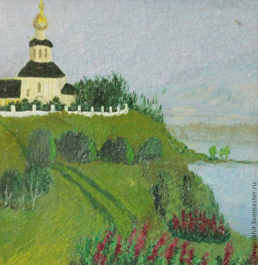 """Пейзаж ручной работы. Ярмарка Мастеров - ручная работа. Купить картина """"Церковь на пригорке"""" (голубой, желтый). Handmade. Голубой, церковь"""