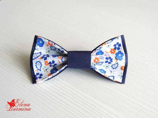 Галстуки, бабочки ручной работы. Ярмарка Мастеров - ручная работа. Купить Бабочка галстук темно-синяя в цветочек, хлопок. Handmade.