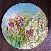 Картины и панно handmade. Livemaster - original item Pictures: Abstract Rainbow Irises Butterfly. Handmade.