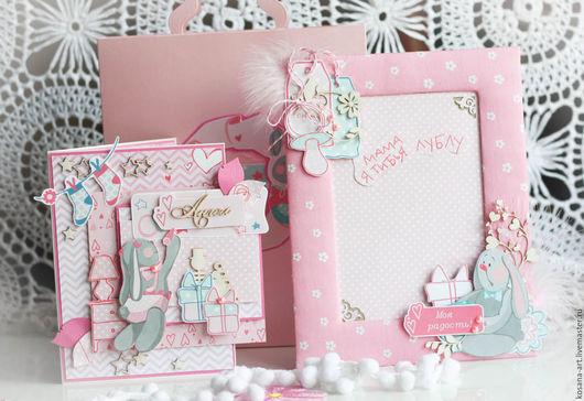 Подарки для новорожденных, ручной работы. Ярмарка Мастеров - ручная работа. Купить Подарочный набор для малышки. Handmade. Розовый, подарок для новорожденной