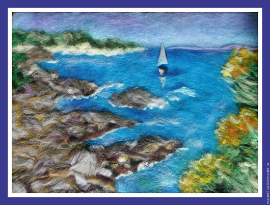 Пейзаж ручной работы. Ярмарка Мастеров - ручная работа. Купить Морской пейзаж. Handmade. Пейзаж, шерстяная акварель, подарок, бирюзовый
