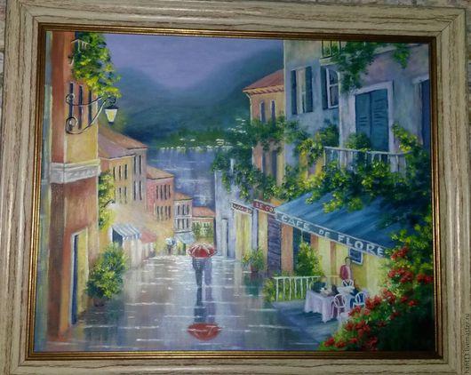 Город ручной работы. Ярмарка Мастеров - ручная работа. Купить Ночь под дождём. Handmade. Комбинированный, ночь, город, дождь